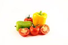 Tomates y pimientas frescos Imagen de archivo