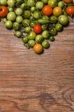 Tomates y pimientas inmaduros y maduros Imagen de archivo
