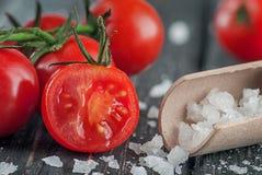 Tomates y sal de cereza Fotografía de archivo libre de regalías