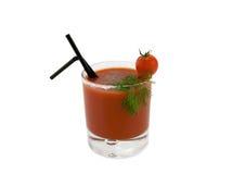Tomatesaft, Kirschtomate und Dill Stockfotografie