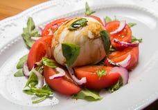 Tomatesalat mit Zwiebel Stockfotos