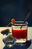 Tomatesap in een glas met zout en appelen in de vroege ochtend Royalty-vrije Stock Afbeeldingen