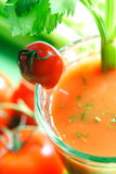 Tomatesap met selderiestok Stock Foto's