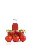 Tomatesap in twee glazen met fles Stock Afbeelding
