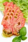 Tomatescheiben auf Kopfsalat treiben mit Basilikum Blätter lizenzfreie stockbilder