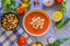Tomatesuppe Gazpacho Stockbild