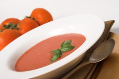 Tomatesuppe mit Basilikum Lizenzfreie Stockfotografie