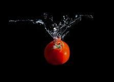 Tomatfärgstänk in i sötvatten Royaltyfri Fotografi