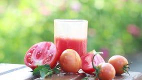 Tomatfruktsaft och nya tomater i trädgården i sommar arkivfilmer