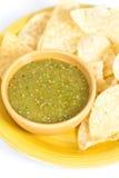 Tomatillo辣调味汁verde,墨西哥烹调 免版税库存图片