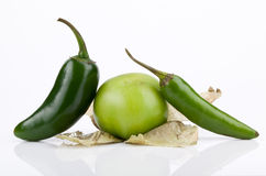 Tomatillo, Jalapeno and Serrano Peppers Stock Image