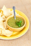Tomatillo salsa verde, mexican cuisine. Fresh Homemade Salsa Verde with tortilla chips royalty free stock photography