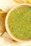 Tomatillo salsa verde, mexican cuisine. Fresh Homemade Salsa Verde with tortilla chips stock photography