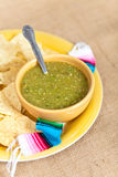 Tomatillo salsa verde, mexican cuisine. Fresh Homemade Salsa Verde with tortilla chips stock images