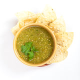 Tomatillo salsa verde, mexican cuisine. Fresh Homemade Salsa Verde with tortilla chips royalty free stock photos
