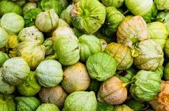 Tomatillos auf Anzeige am Markt Stockfotografie