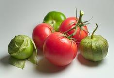 Tomatillos e tomates Fotografia de Stock