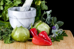 Tomatillos and Peppers royalty free stock image