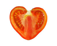 Tomato. Single tomato cut in half isolated on white background Stock Photography