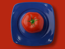 Tomato. Red Tomato on  to the blue dish Royalty Free Stock Photo