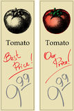 Tomato. Two Price Tags with Vintage Effect Stock Photos