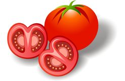 TOMATO. Vector illustration of fresh tomato with slice Royalty Free Stock Image