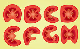Tomato Alphabet. Letters A, B, C, D, E, F, G, H, Part 01. Healthy food word on Tomato Alphabet fruits illustration Royalty Free Stock Images
