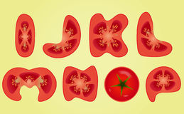 Tomato Alphabet. Letters I, J, K, L, M, N, O, P, Part 02. Healthy food word on Tomato Alphabet fruits illustration Stock Images