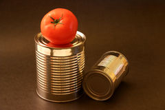 Tomato and aluminum cans Royalty Free Stock Images