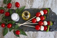 Tomato And Mozzarella Skewers Royalty Free Stock Photos