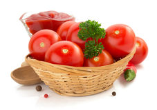 Tomato And Sauce On White Background Royalty Free Stock Image