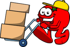 Tomato as delivery man Royalty Free Stock Images
