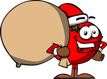 Tomato as Santa Claus with a big sack Royalty Free Stock Photography