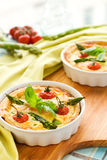 Tomato asparagus quiche Stock Photos