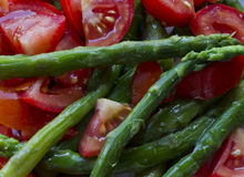 Tomato and Asparagus salad Stock Photo