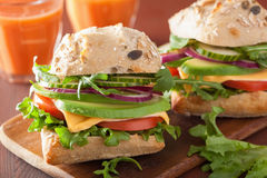 Tomato avocado cheese sandwich with cucumber onion Royalty Free Stock Photo