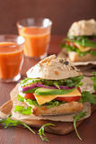 Tomato avocado cheese sandwich with cucumber onion Stock Image