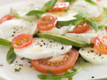 Tomato Avocado and Mozzarella Salad Stock Image