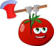Tomato with an axe Stock Photos