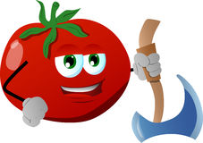 Tomato with axe Stock Images