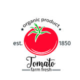Tomato badge label for markets and menu Stock Image
