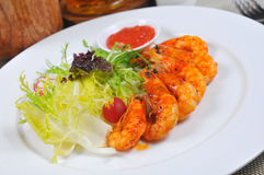 Tomato baked shrimp with vegetables Stock Photos