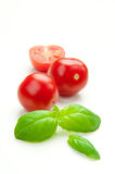 TOMATO & BASIL. Fresh tomatoes and basil on a white background Stock Images