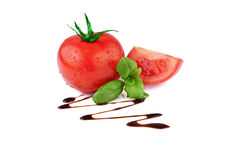 Tomato with Basil and Balsamic Vinegar royalty free stock image