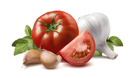 Tomato, Basil Leaves, Garlic Bulb And Cloves Stock Images