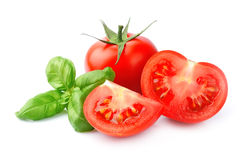 Tomato and basil leaves Stock Photography