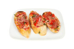 Bruschetta on a plate stock images