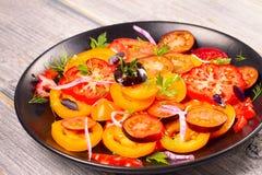 Tomato, basil, parsley, dill and onion salad. Tomato, basil, parsley, dill and onion salad, vertical Stock Photography