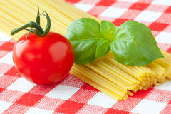 Tomato , basil and pasta Royalty Free Stock Photography