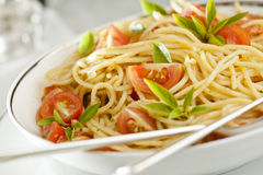 Tomato and Basil Pasta Royalty Free Stock Photography